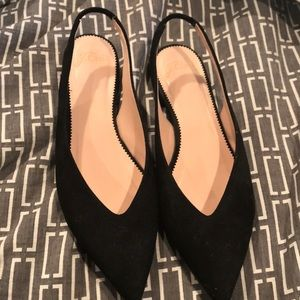 J. crew pointed toe sling back in suede